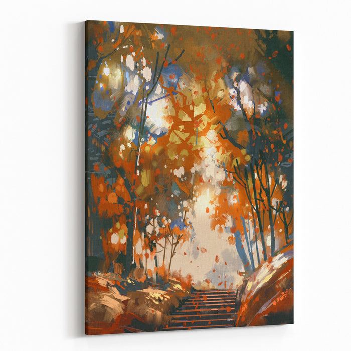 Stairs With Trees In The Park,illustration Painting Canvas Wall Art Print
