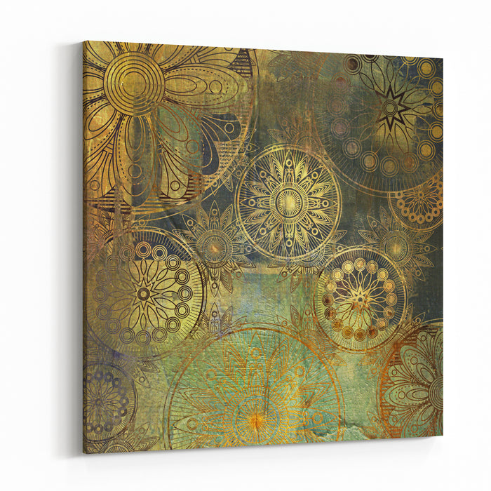 Art Grunge Stylized Damask Floral Pattern Background In Golden And Green Colors Canvas Wall Art Print