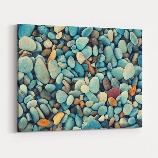 Natural Abstract Vintage Colorful Pebbles Background Canvas Wall Art Print