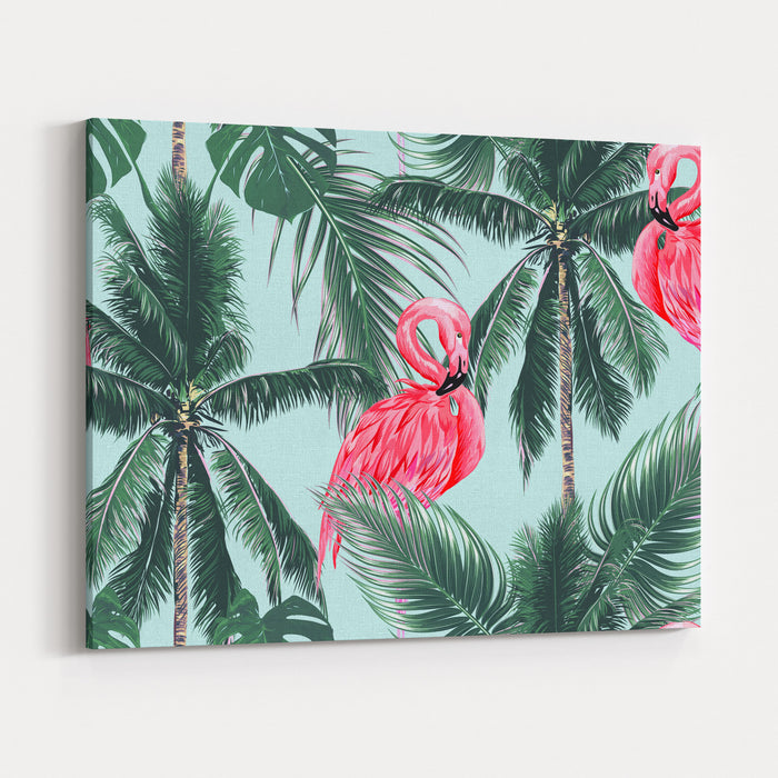 Pink Flamingos, Exotic Birds, Tropical Palm Leaves, Trees, Jungle Leaves Seamless Vector Floral Pattern Background Canvas Wall Art Print