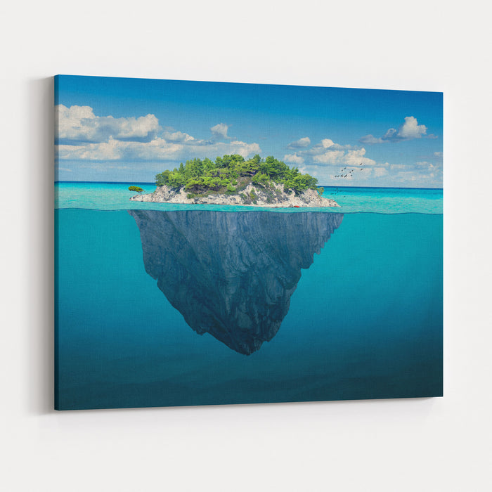 Beautiful Underwater View Of Lone Small Island Above And Below The Water Surface In Turquoise Waters Of Tropical Ocean Canvas Wall Art Print
