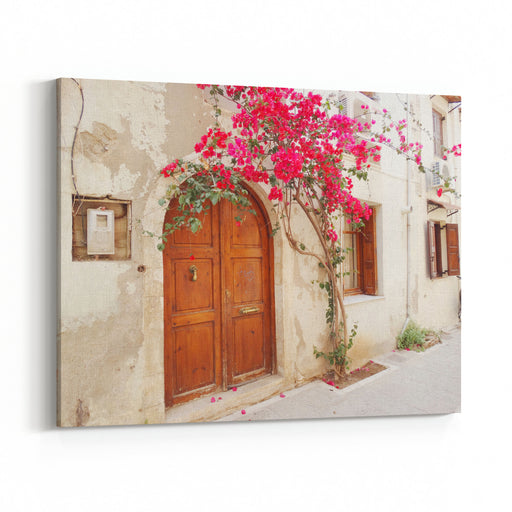 Door Architecture Detail In House Building With Bougainvillaea Greece Canvas Wall Art Print