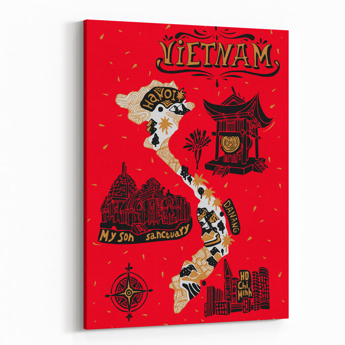 Illustrated Map Of Vietnam Canvas Wall Art Print