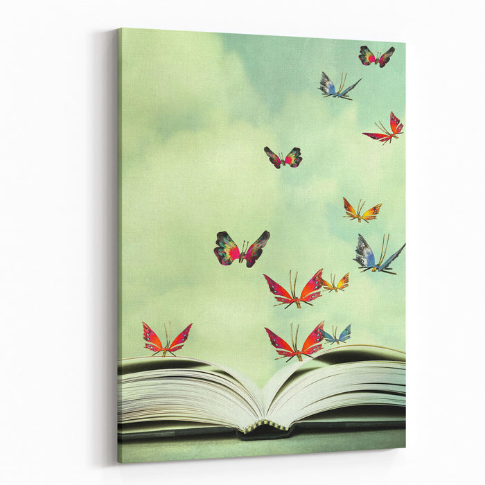 Artistic Image Of An Open Book And Colorful Butterflies That Hover In The Sky Canvas Wall Art Print