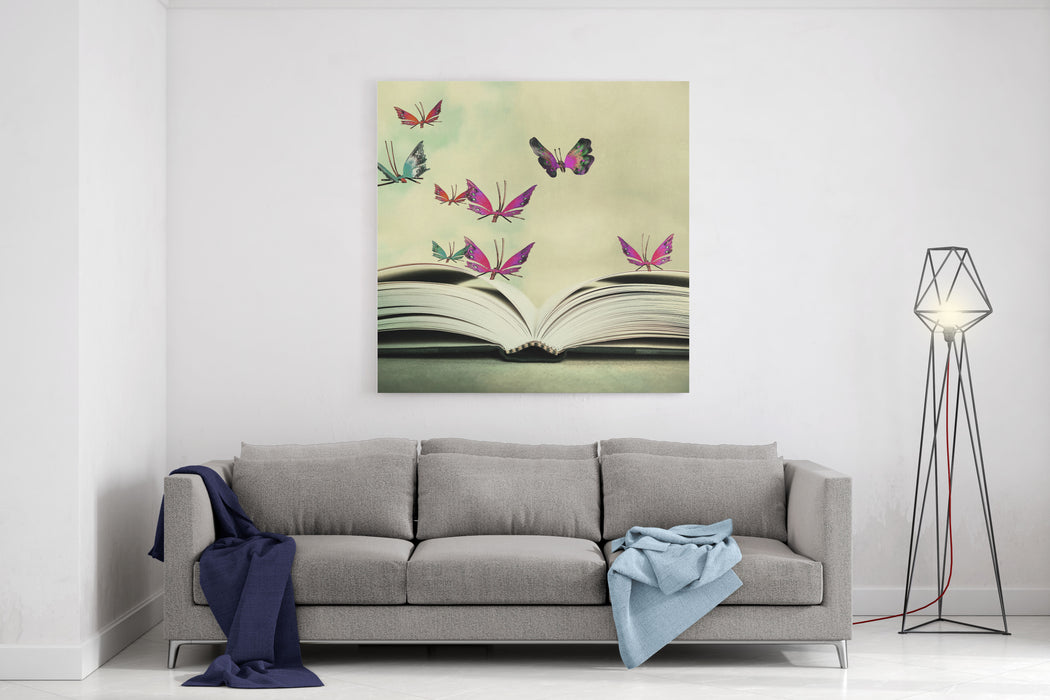 Artistic Image Of An Open Book And Colorful Butterflies That Hover In TheSky Canvas Wall Art Print
