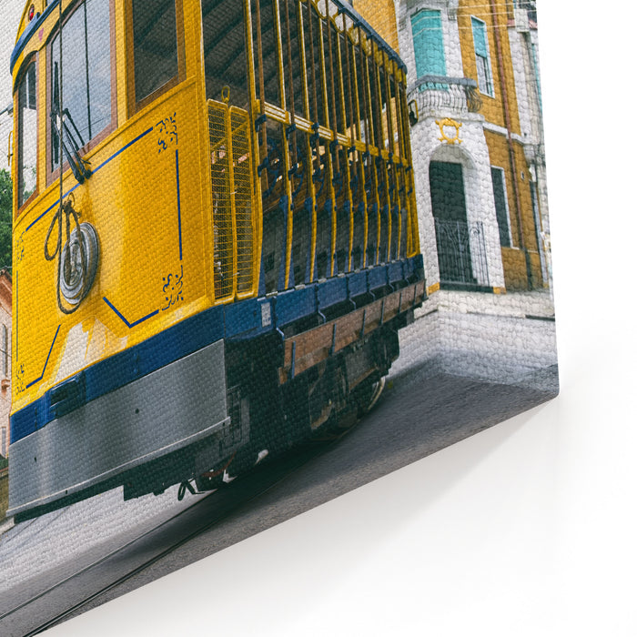 Iconic Bonde Tram Travels Along The Streets Of The Tourist Nieghborhood Of Santa Teresa In Rio De Janeiro, Brazil Canvas Wall Art Print