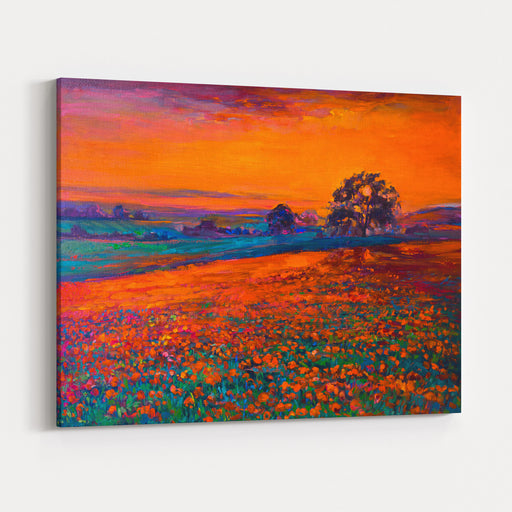 Original Oil Painting Of Opium Poppy Field In Front Of Beautiful Sunset On CanvasModern Impressionism Canvas Wall Art Print