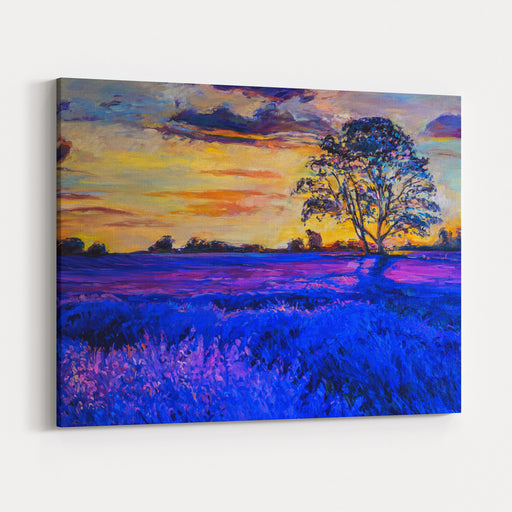 Original Oil Painting Of Lavender Fields On Canvas Sunset Over Lavender Field Modern Impressionism Canvas Wall Art Print