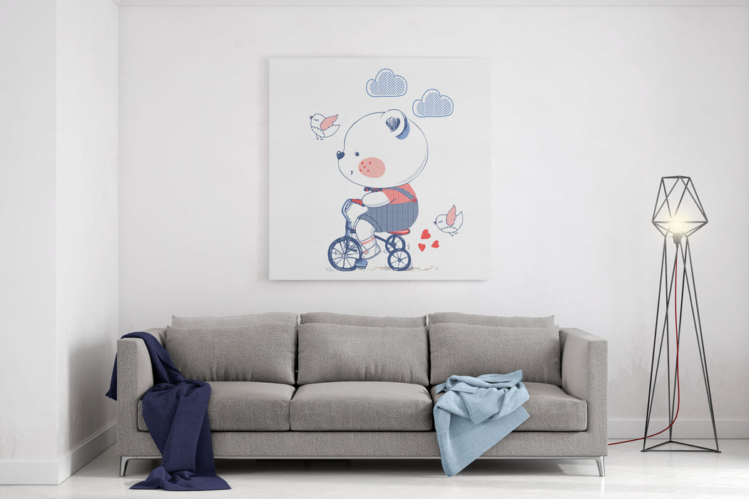 Bearhand Drawn Vector Illustration Of Cute Bear Riding A BicycleTricyclecan Be Used For Kids Or Babys Shirt Designfashion Print Designfashion Graphictshirtkids Weartee Canvas Wall Art Print
