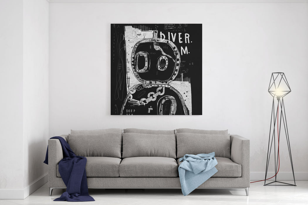 Wetsuit In Style Of Graffiti On Black Background Canvas Wall Art Print
