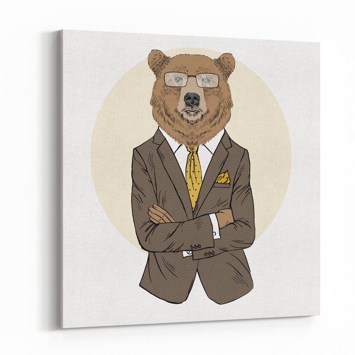 Brown Bear Dressed Up In Office Suit, Furry Art Illustration, Fashion Animals, Business Animals Canvas Wall Art Print
