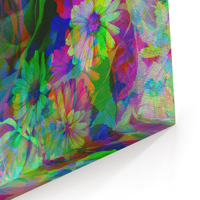 Art Vintage Colored Blurred Floral Seamless Pattern With White And Purple Roses And Peonies On Grey Background Double Exposure Effect Canvas Wall Art Print