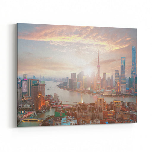 Aerial Photography Bird View At Shanghai Bund Skyline Of Sunrise Canvas Wall Art Print