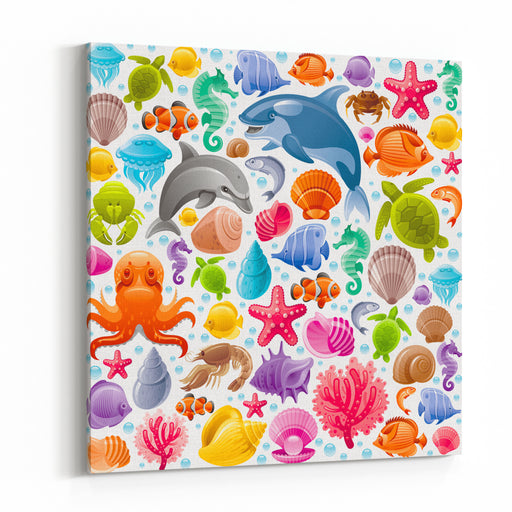 Sea Travel Seamless Background With Underwater Diving Animals Dolphin, Killer Whale, Starfish, Coral, Pearl, Butterfly Fish, Tropical Shells, Sea Horse, Octopus, Sea Turtle And More Marine Icons Canvas Wall Art Print