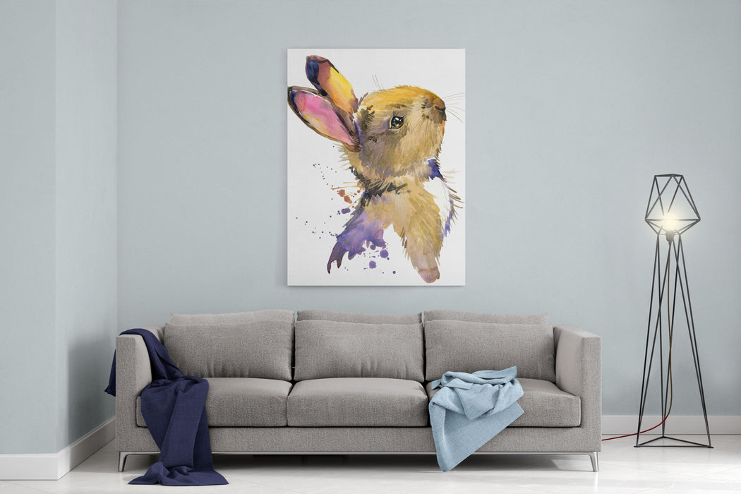Cute Rabbit Hare Watercolor Illustration Forest Animal Canvas Wall Art Print