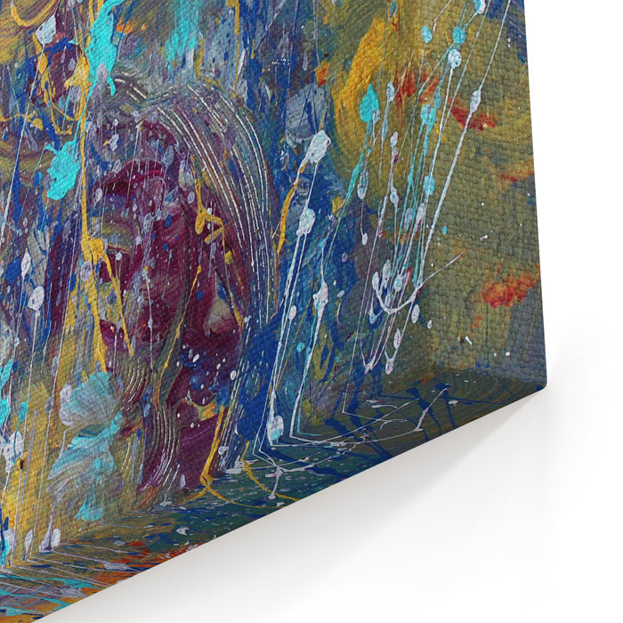 Beautiful Brighta Color Splashes, Acrylic Abstract Painting,colorful Canvas Wall Art Print
