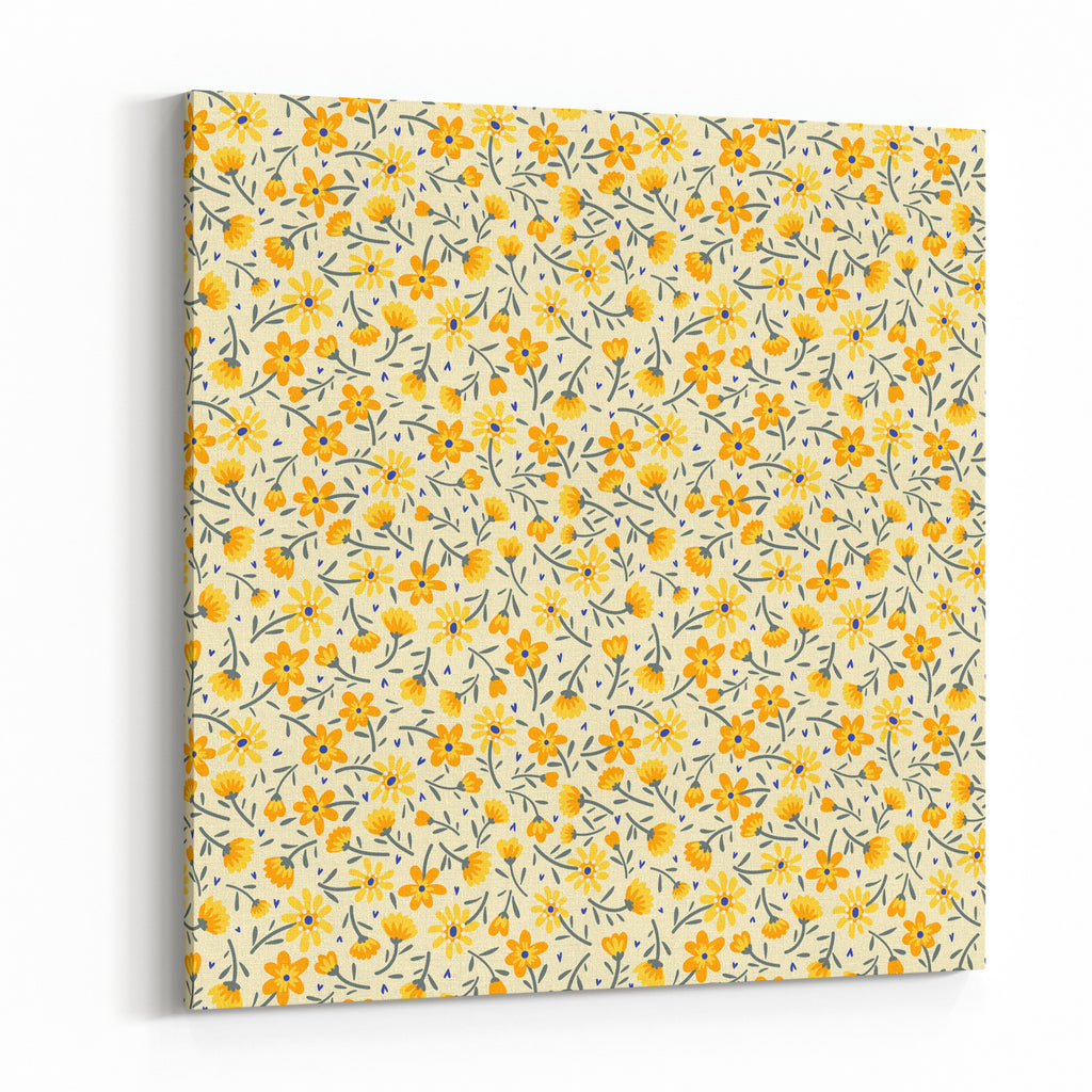 Cute Pattern In Small Flower Small Yellow Flowers White Background