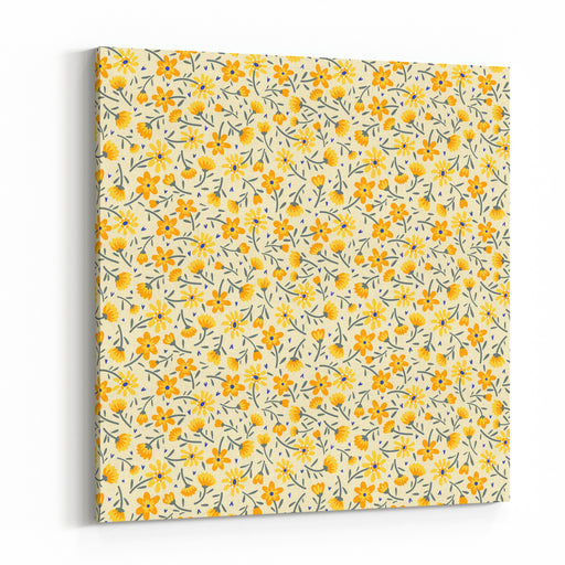 Cute Pattern In Small Flower Small Yellow Flowers White Background Ditsy Floral Background The Elegant The Template For Fashion Prints Canvas Wall Art Print
