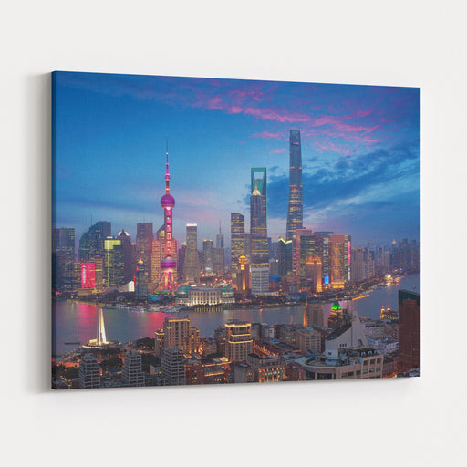 Aerial Photography Bird View At Shanghai Bund Skyline Of Dusk Canvas Wall Art Print