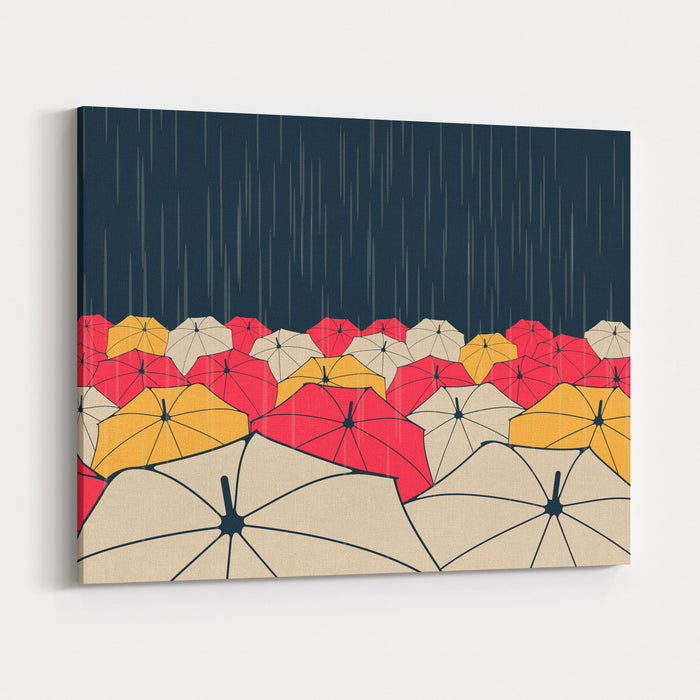 A Field Of Umbrellas Under The Rain, In Night Blue, Yellow And Red Canvas Wall Art Print