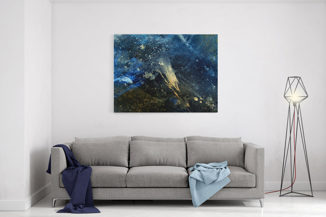 Abstract Painting With Blurry And Stained Structure Color Effect And Computer Collage Winter Freeze Effect Canvas Wall Art Print