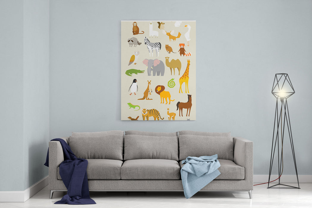 Animal Set Vector Illustration Wildlife In Jungle Canvas Wall Art Print