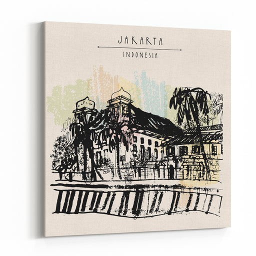 Old Church On The River Bank In Kota, Jakarta, Indonesia, Asia Colonial Architecture Travel Sketch Handdrawn Vintage Book Illustration, Greeting Card, Postcard Or Poster Template In Vector Canvas Wall Art Print