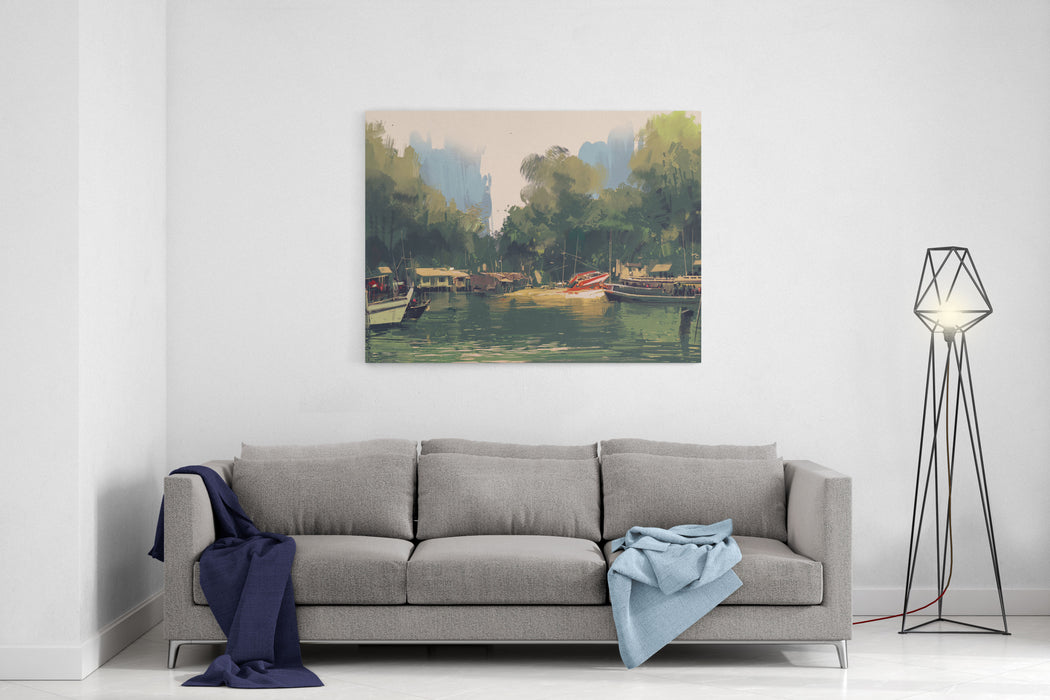 Village On The Bank Of River,illustration Painting,landscape Canvas Wall Art Print