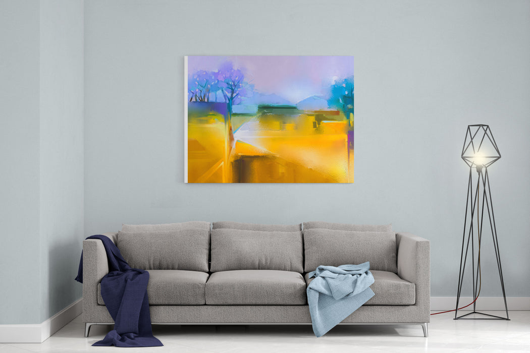 Abstract Oil Painting Background  Colorful Yellow And Purple Sky Oil Painting Landscape On Canvas Semi Abstract Tree, Hill And Field, Meadow Sunset Landscape Oil Painting Nature Background Canvas Wall Art Print