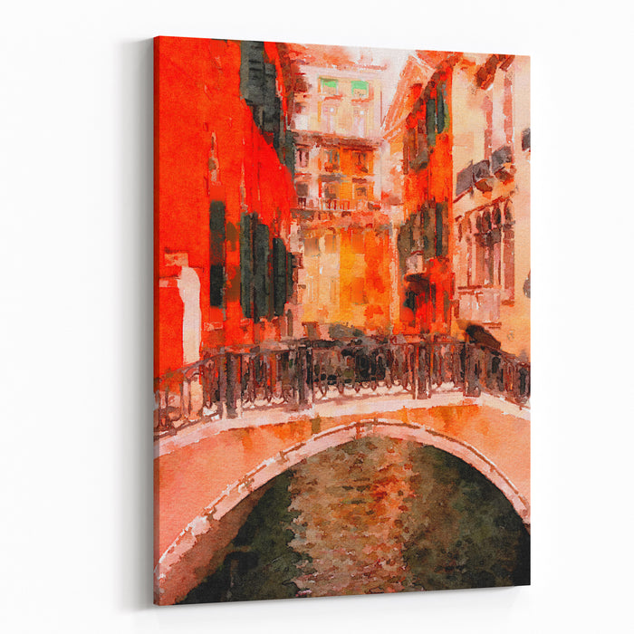 Beautiful Painting Of The Famous Bridge Of Sighs Canvas Wall Art Print