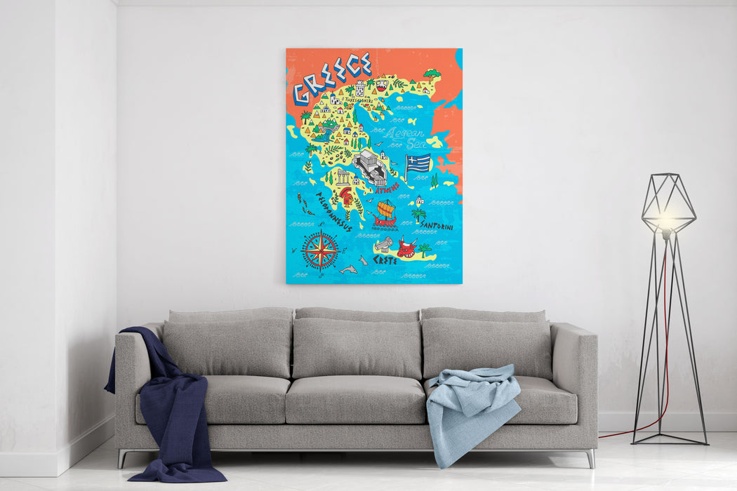 Illustrated Map Of Greece Travels Canvas Wall Art Print