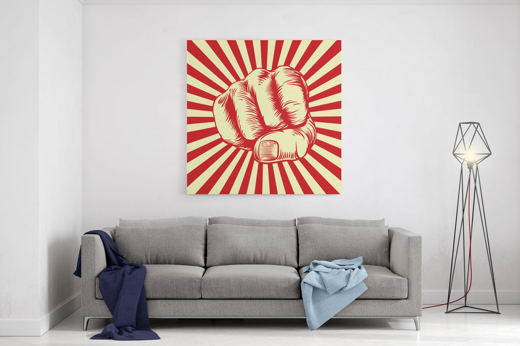 Fist Punching In A Vintage Propaganda Poster Woodcut Style Canvas Wall Art Print