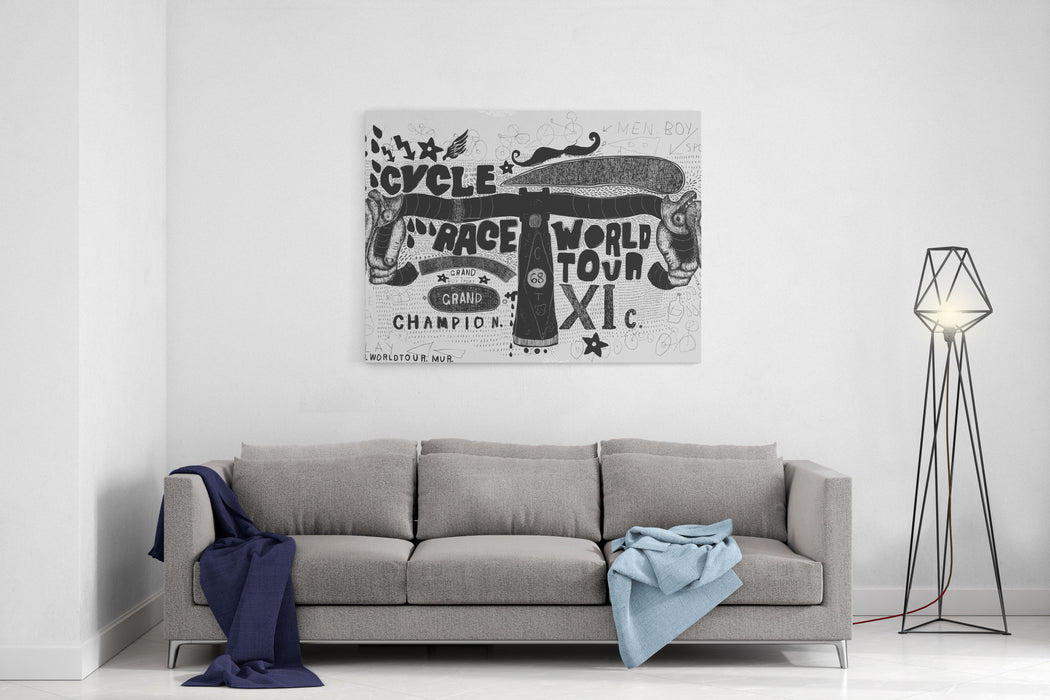 Symbolic Image Of The Steering Wheel Sports Bike Canvas Wall Art Print