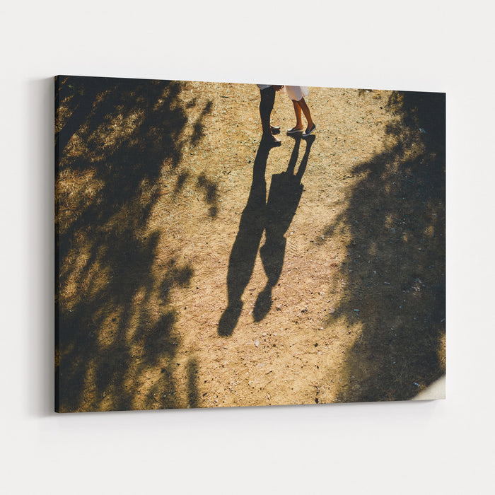 Beautiful Couple Walking In The Forest Canvas Wall Art Print