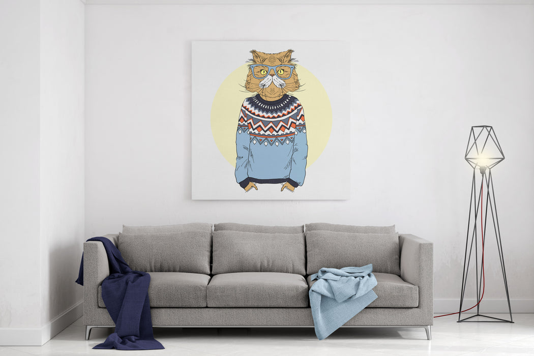 Persian Cat Dressed Up In Jacquard Pullover, Furry Art Illustration ...