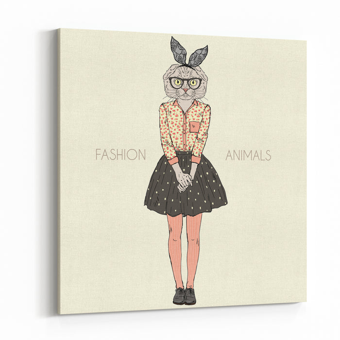 Cute Scottish Fold Cat Girl Hipster, Furry Art Illustration, Fashion Animals Canvas Wall Art Print