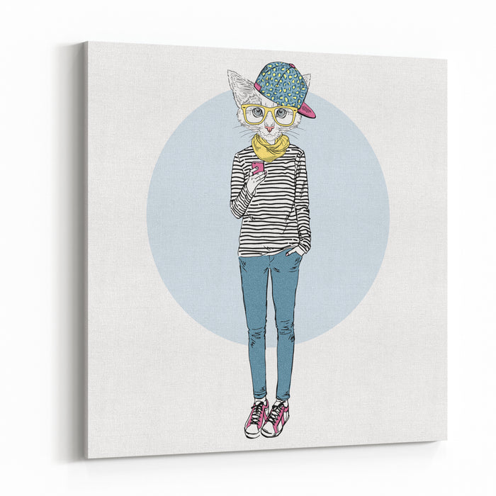 Cat Teen Girl In Stripy Top With Mobile, Furry Art Illustration, Fashion Animals Canvas Wall Art Print