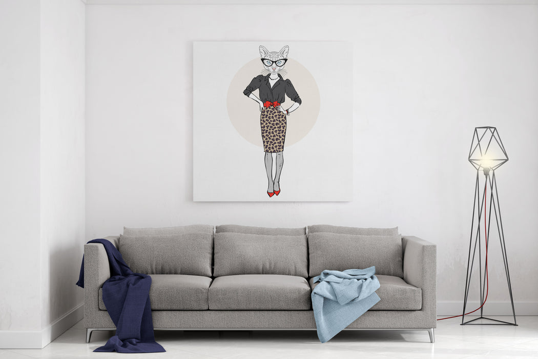 Cat Lady Woman In Leopard Skirt, Furry Art Illustration, Fashion Animals Canvas Wall Art Print