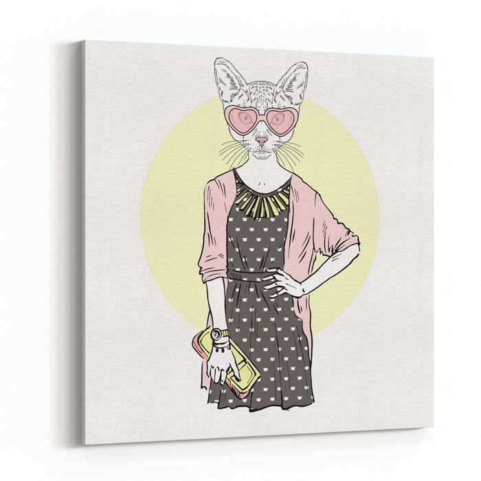 Cat Girl Hipster, Furry Art Illustration, Fashion Animals Canvas Wall Art Print