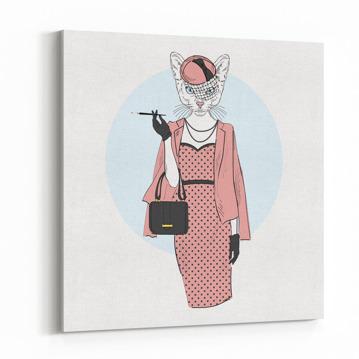 Chic Cat Woman, Furry Art Illustration, Fashion Animals Canvas Wall Art Print