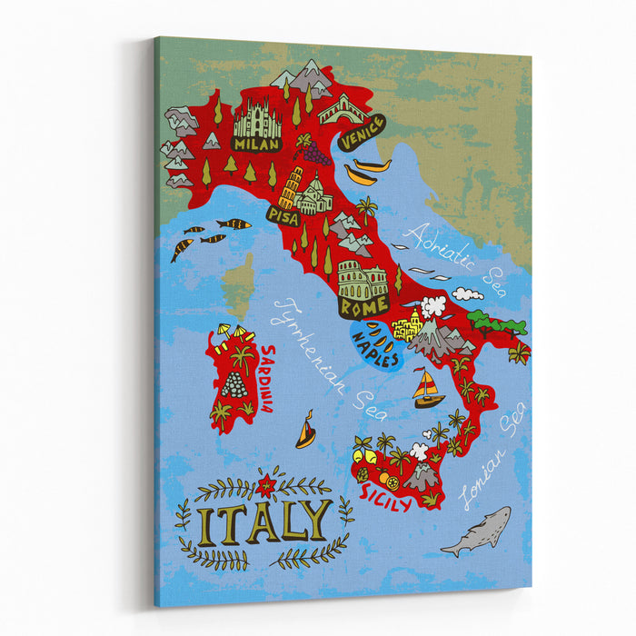 Illustrated Map Of Italy Travel Canvas Wall Art Print