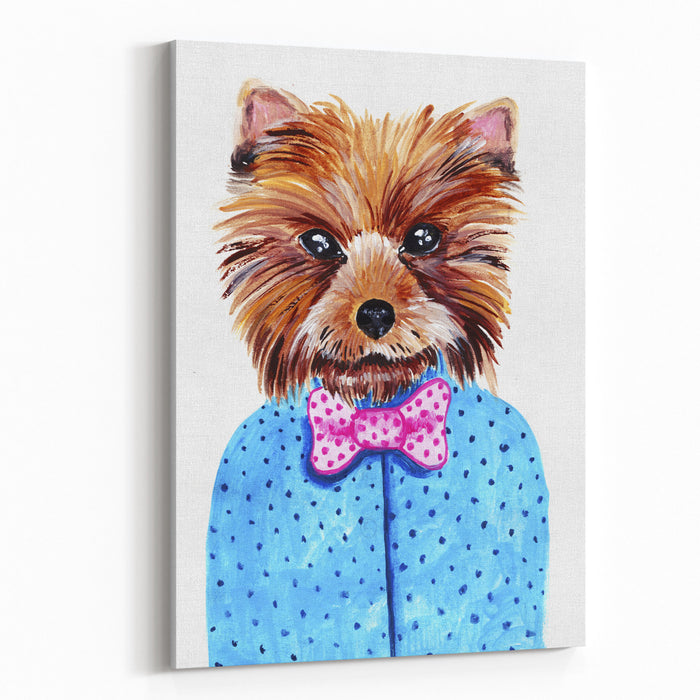 Cute Watercolor Yorkshire Terrier Portrait With Bow Tie Formal Dog Hand Dawn Illustration Canvas Wall Art Print