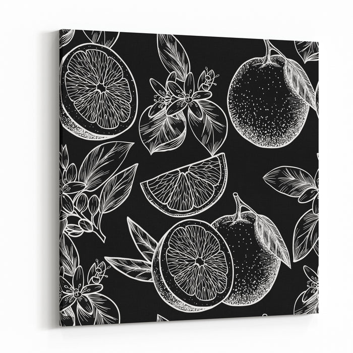 Oranges  And Flowers Vector Seamless PatternVintage Style Canvas Wall Art Print