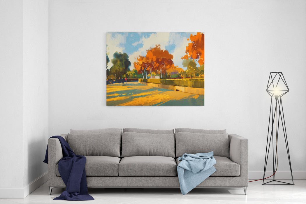 Path In The Autumn Park,landscape Painting,illustration Canvas Wall Art Print