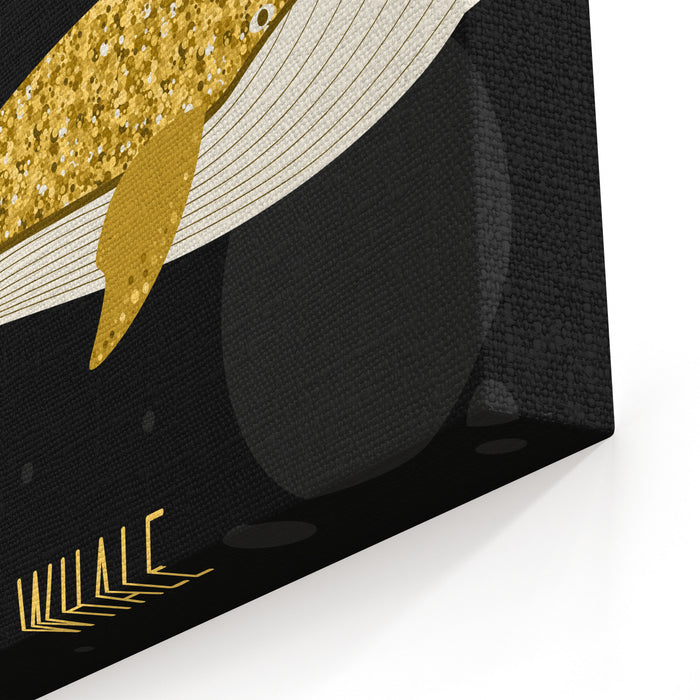 Cartoon Abstract Whale Set Golden Glitter Texture Nature, Sea Animal And Wildlife Theme Vector Whale Fish Isolated On Black Cover For Card, Book, Invitation Canvas Wall Art Print