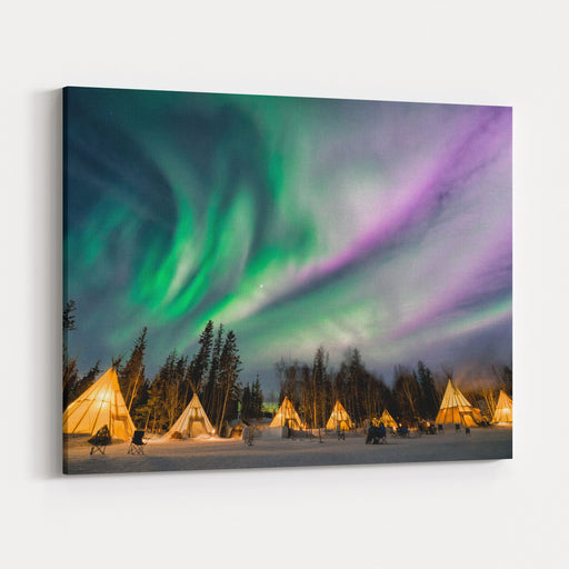 A Wonderful Night With Kp  Index Northern Lights At Aurora Village In Yellowknife Canvas Wall Art Print