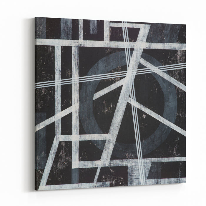 A Grungy Monochrome Painting White On Black Canvas Wall Art Print