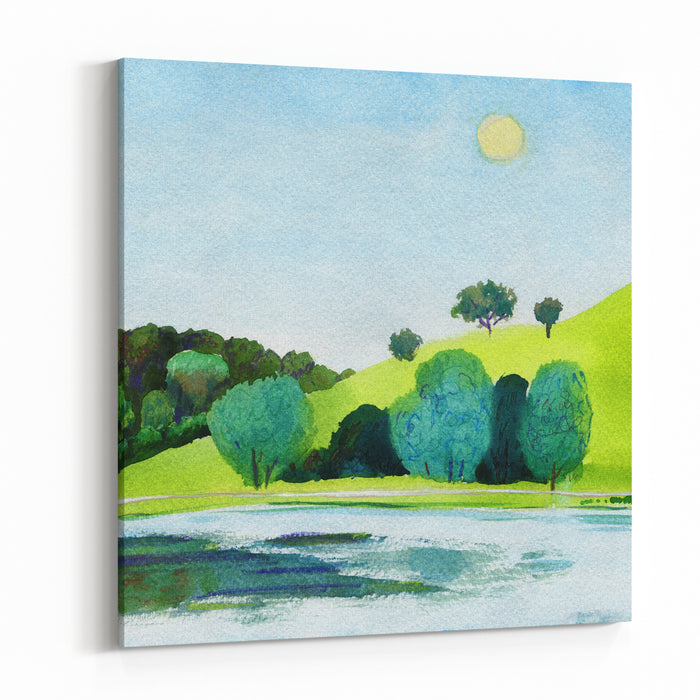 Beautiful Watercolor Of Public Park With Clear Lake In Daylight Original Watercolor Landscape Painting Canvas Wall Art Print