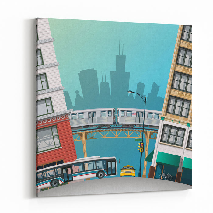 Chicago Traffic Canvas Wall Art Print