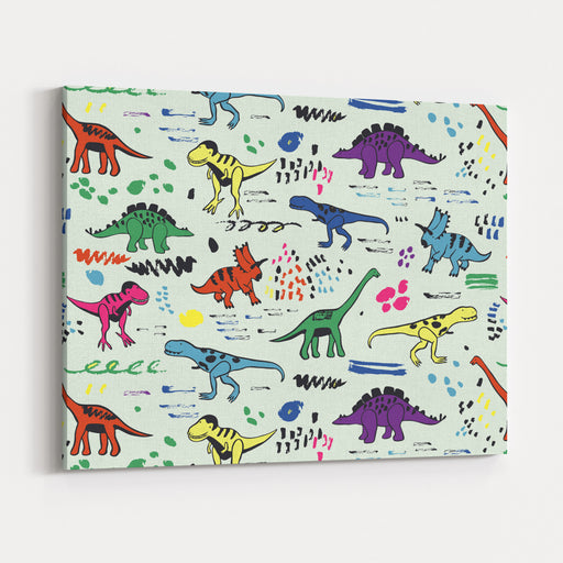 Funny Dinosaurs Graphic Color Vector Pattern Canvas Wall Art Print